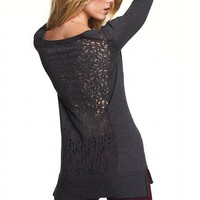 The Long & Lean Cardi Sweater in Pointelle