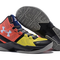 Men's Under Armour Stephen Curry 2 The Professional Red Yellow Blue Black Basketball Shoes