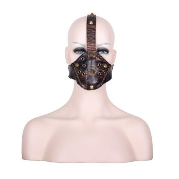 Fashion Steampunk rock Metal Rivets mask unisex Bronze leather Masks stage cosplay props