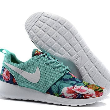 custom nike roshe run flyknit sneakers athletic womens shoes with fabric floral print and swarovski crystal