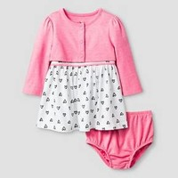 Baby Girls' 2 Piece Heart Print Dress Baby Cat & Jack™ - Pink/White