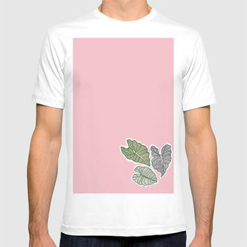 Botanical Splash, pink lake and leaves floating T-shirt by Camila Quintana S