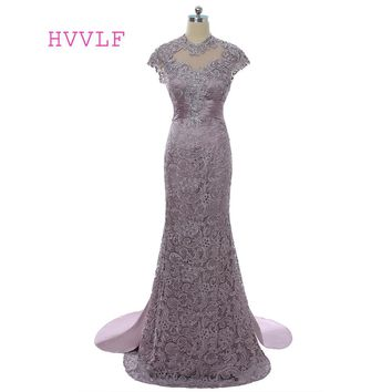 2018 Mother Of The Bride Dresses Mermaid Cap Sleeves Open Back Beaded Brown Lace Mother Dresses Evening Dresses For Weddings