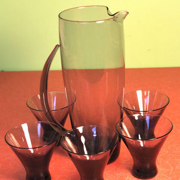 Vintage Morgantown Normandie Martini Pitcher and Five Cocktail glasses Vintage 1950s