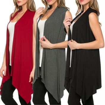 e5d4640addf14 HOT Women Open Front Vest Long Tunic Shawl Collar Draped Sleevel