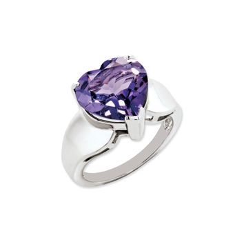 Sterling Silver And 12mm Heart Shaped Amethyst Ring