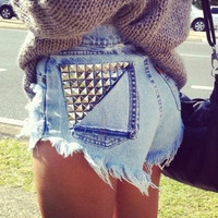 BACKORDER   Studded Pocket HighWaisted Shorts by Shopwunderlust