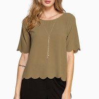 ShopSosie Style : Scalloped Edges Blouse in Olive