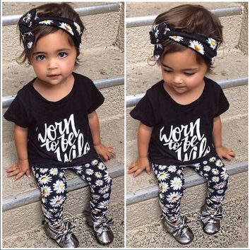 2017 Hot New Arrivel Summer Baby Girl Clothes Flower Band T-shirt Pants Baby Clothing Sets Baby Boys Suite Bebe Cloth Kids Tales