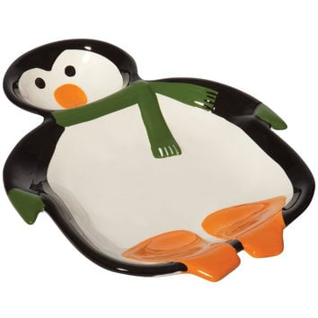 Penguin Party Ceramic Chip & Dip Bowl