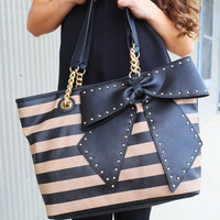 Betsey Johnson Bow-Lette Striped Tote