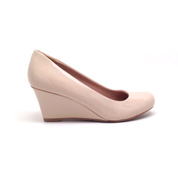 Beige Shiny Wedges for Women