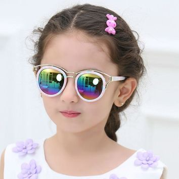 Trendy New Fashion Baby Boys Girls Kids Sunglasses Metal Frame Child Goggles cat eye 2017 lunette de soleil enfant T609