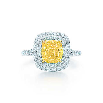 Tiffany & Co. - Tiffany Soleste® ring in platinum and 18k gold with a yellow diamond.