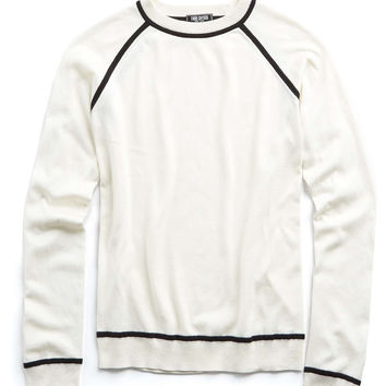 Italian Silk-Cotton Raglan Piped Crewneck Sweater