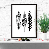 Black and white prints Black and white wall art Abstract wall decor Feather art Minimalist decor Feather printable 5X7 8X10 16X20 DOWNLOAD