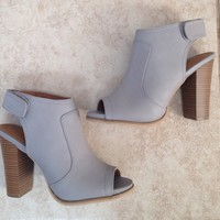 Gray Faux Leather Chunky Heels