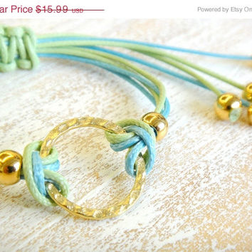 50% OFF Gold Infinity Circle Adjustable Waxed Cord Friendship Bracelet or Anklet - Green and Turquoise