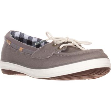 Keds Glimmer Lace Up Boat Shoes, Gray, 9 US / 40 EU