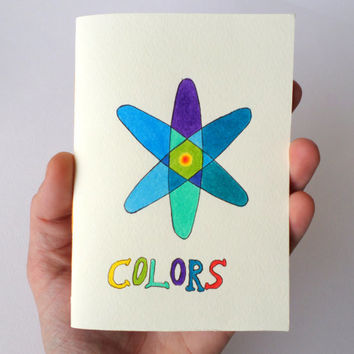 Hand-drawn colorful notebook with blue, purple and green colors, alchemy notebook, atom particle handmade notebook 60 pages