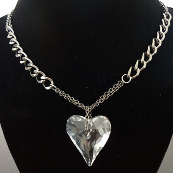 Heart of Steel. Gorgeous Gunmetal Neckacle w/ Large 37mm Swarovski Heart Crystal Pendant. Curb Chain Mix