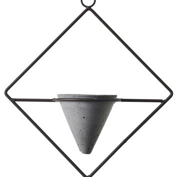 "Metal and Concrete Plant Hanger - 13"" Tall x 11"" Wide"