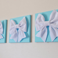 "Tiffany Blue -SET OF THREE White Bows on Bright Aqua Solid 12 x12"" Canvas Wall Art- Home Decor"