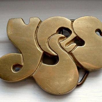 Solid Brass YES Belt Buckle Rock Band 1970's Hardware Vintage Rock Music