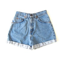80s LEVIS Jean Shorts Cuffed Blue High Waist Denim Shorts Mom Jeans Daisy Dukes Hipster Denim Hot Pants Small Extra Small XS 26 Inch Waist