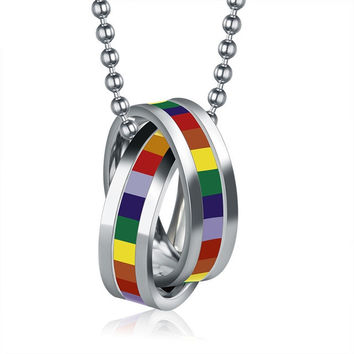316L STAINLESS STEEL RAINBOW CROSS CRYSTAL BEAD NECKLACE - PROMO