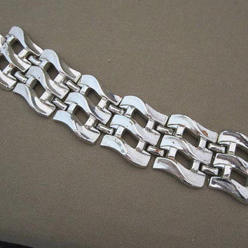 Chunky Vintage Silver Wave Woven Chain Bracelet
