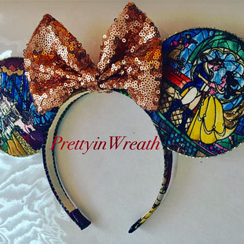 Beauty and the Beast inspired Mickey Mouse ears headband