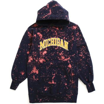 University of Michigan Bleached Applique Arch Steve And Barry's Hoodie Navy (Extra Small)