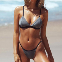 Summer new fashion solid color sexy straps two piece bikini swimsuit Gray