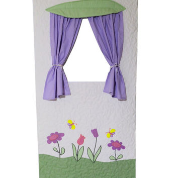 Doorway Puppet Theater, Handmade Door Curtain, Kid Playroom, Quilted Organic
