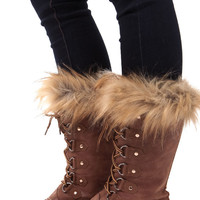 Brown Faux Fur Snow Boots