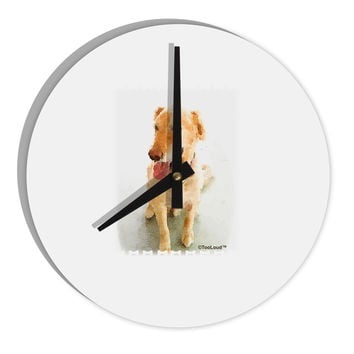 "Golden Retriever Watercolor 8"" Round Wall Clock"