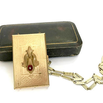Art Deco Dance Card Necklace, Etched Case & Chain, Cash or Credit Card Holder, Red Glass Cab, Fleur de Lis Gold Accent, Vintage Gift for Her