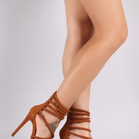 Liliana Suede Tube Straps Stiletto Heel