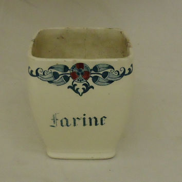 Generic Short Vase 4 1/2in x 4 1/2in x 5in White/Red/Blue Cottage Vintage China -- Used