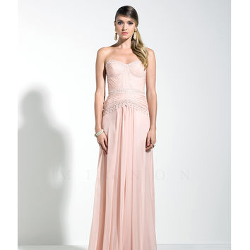 Mignon VM883 Blush Pink Embroidered Chiffon Strapless Dress 2015 Prom Dresses