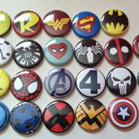 Marvel Comics and DC Comics Buttons Set of 10