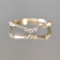 Thin Diamond 'V' Ring by Kataoka