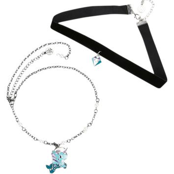 Licensed cool Tokidoki Marina Mermicorno Pendant Unicorn Necklace & Faux Diamond Choker Set