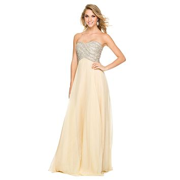 Poofy Prom Ball Gown Gold Floor Length Strapless Sequins