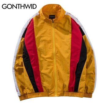Trendy GONTHWID Vintage Color Block Patchwork Track Jackets Hip Hop Casual Full Zip Up Coats 2018 Autumn Mens Fashion Streetwear Jacket AT_94_13
