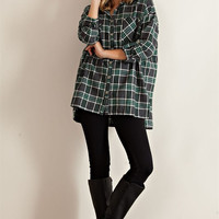 Oversized Plaid Shirt - Green