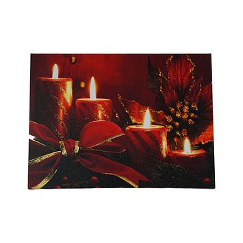"LED Lighted Red Glitter Striped Candles with Poinsettia & Bow Christmas Canvas Wall Art 12"" x 15.75"""