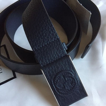 New Gucci Mens Genuine Leather Belt Dark Blue Size 105/42 Italy