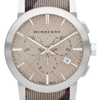 Burberry Chronograph Check Strap Watch, 42mm